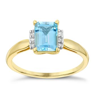 9ct Yellow Gold Diamond & Rectangular Blue Topaz Ring - Product number 2998106