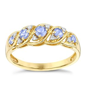 9ct Yellow Gold Tanzanite & Diamond Eternity Ring - Product number 2998548