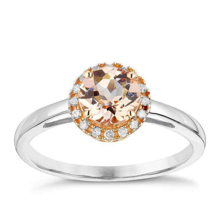 Silver & 9ct Rose Gold Morganite & Diamond Ring