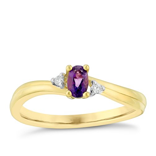 9ct Yellow Gold Oval Amethyst & Diamond Ring - Product number 2999579