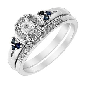 9ct White Gold Diamond & Sapphire Perfect Fit Bridal Set - Product number 3002764