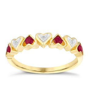 9ct Yellow Gold Diamond & Treated Ruby Heart Eternity Ring - Product number 3003736