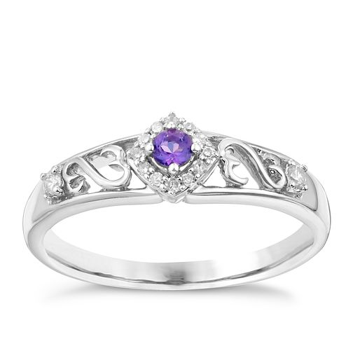 Open Hearts By Jane Seymour Silver Diamond & Amethyst Ring - Product number 3003981