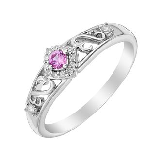 Open Hearts By Jane Seymour Diamond & Pink Sapphire Ring - Product number 3004864