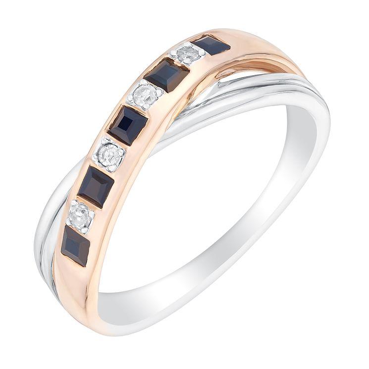 Silver & 9ct Rose Gold Diamond & Sapphire Eternity Ring