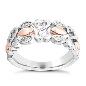 Open Hearts By Jane Seymour Silver, Rose Gold & Diamond Ring - Product number 3008177
