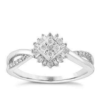 9ct White Gold 1/4 Carat Flower Shape Diamond Cluster Ring - Product number 3025926