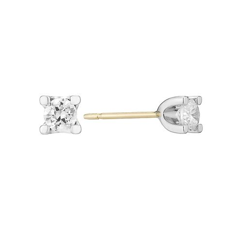 Two Colour Gold Forever Diamond Stud Earrings - Product number 3028461