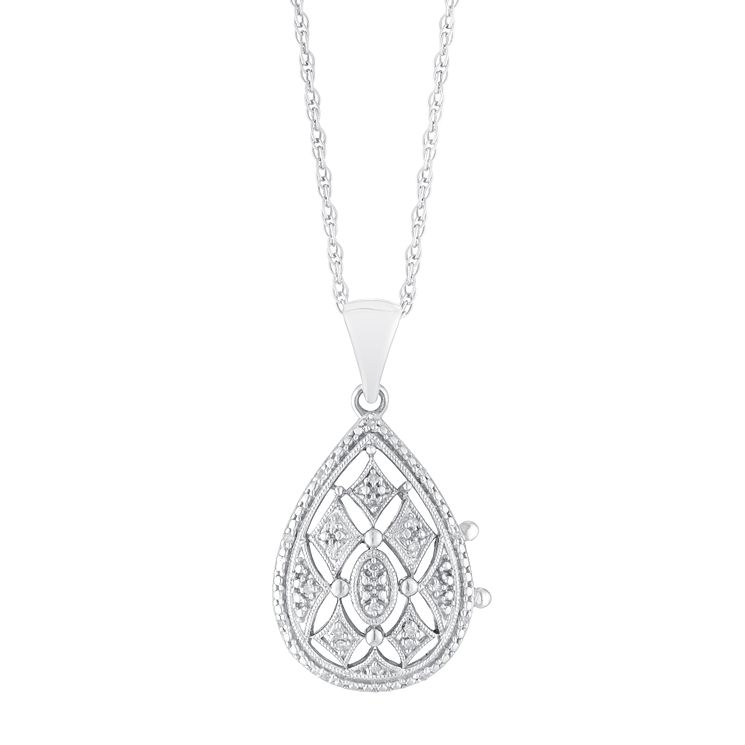 pendant silver locket diamond with jewelry in floral sterling