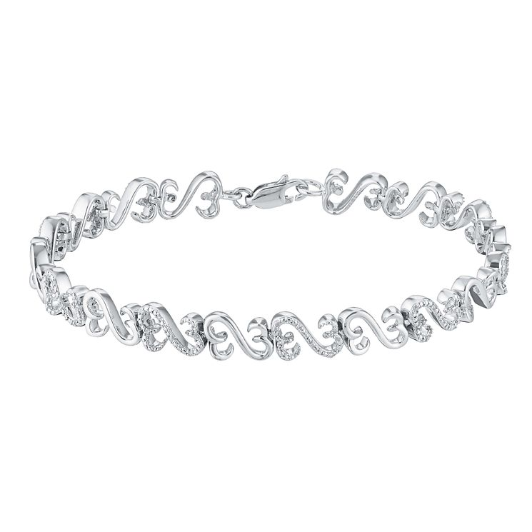 Open Hearts By Jane Seymour Silver & Diamond Bracelet - Product number 3030946