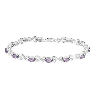 Open Hearts By Jane Seymour Diamond & Amethyst Bracelet - Product number 3030962