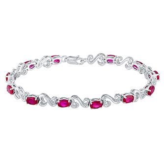 Open Hearts Silver Diamond & Created Ruby Bracelet - Product number 3030970