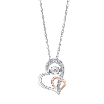 Diamonds In Rhythm Silver & 9ct Rose Gold Diamond Pendant - Product number 3031012