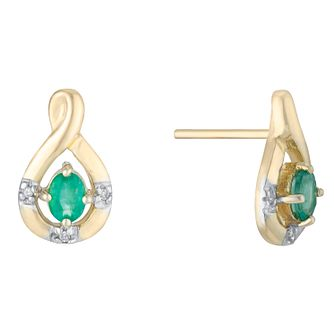 9ct Yellow Gold Diamond & Emerald Twist Stud Earrings - Product number 3031225