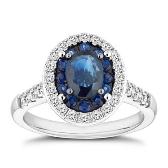 18ct white gold oval sapphire & 0.50ct diamond ring - Product number 3045986