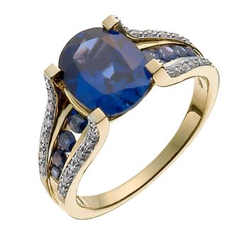 9ct yellow gold 12pt diamond & created sapphire ring - Product number 3046648