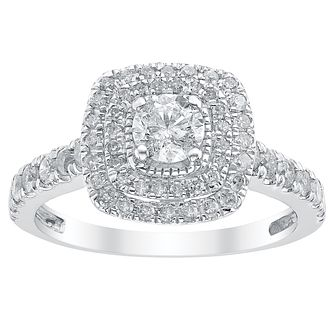 18ct White Gold 1ct Diamond Cushion Shaped Halo Ring - Product number 3047520