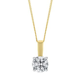 9ct Yellow Gold Illusion 0.10 Carat Diamond Pendant Necklace - Product number 3048098