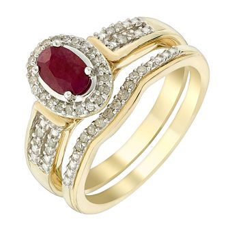 9ct Yellow Gold Oval Ruby & Diamond Perfect Fit Bridal Set - Product number 3048608