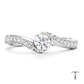 Tolkowsky platinum 1/2ct I-I1 diamond twist ring - Product number 3049655