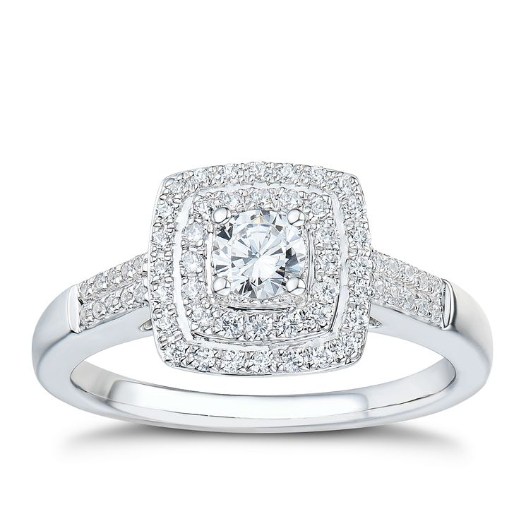 Tolkowsky platinum 0.50ct I-I1 diamond halo ring - Product number 3049884