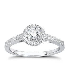 Tolkowsky platinum 1/2ct I-I1 diamond halo ring - Product number 3050351