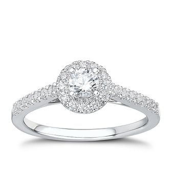 Tolkowsky platinum 0.50ct I-I1 diamond halo ring - Product number 3050351