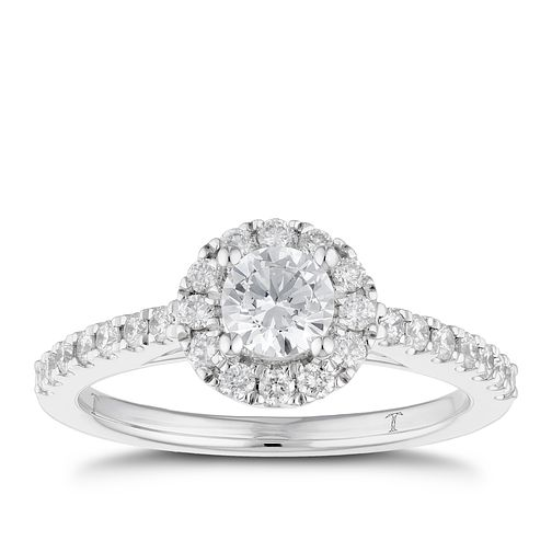 Tolkowsky platinum 0.75ct I-I1 diamond halo ring - Product number 3051218