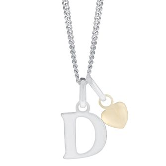 Silver & 9ct Yellow Gold Children's D Initial Pendant - Product number 3054926