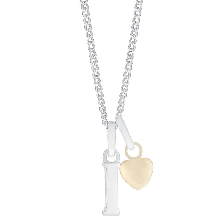 Silver & 9ct Yellow Gold Children's I Initial Pendant - Product number 3054977