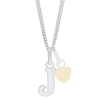 Silver & 9ct Yellow Gold Children's J Initial Pendant - Product number 3054985