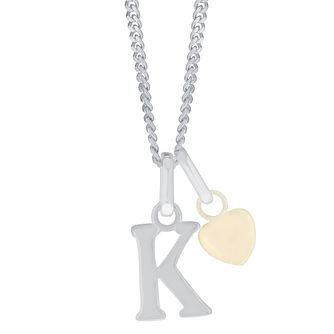 Silver & 9ct Yellow Gold Children's K Initial Pendant - Product number 3054993