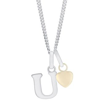 Silver & 9ct Yellow Gold Children's U Initial Pendant - Product number 3055019