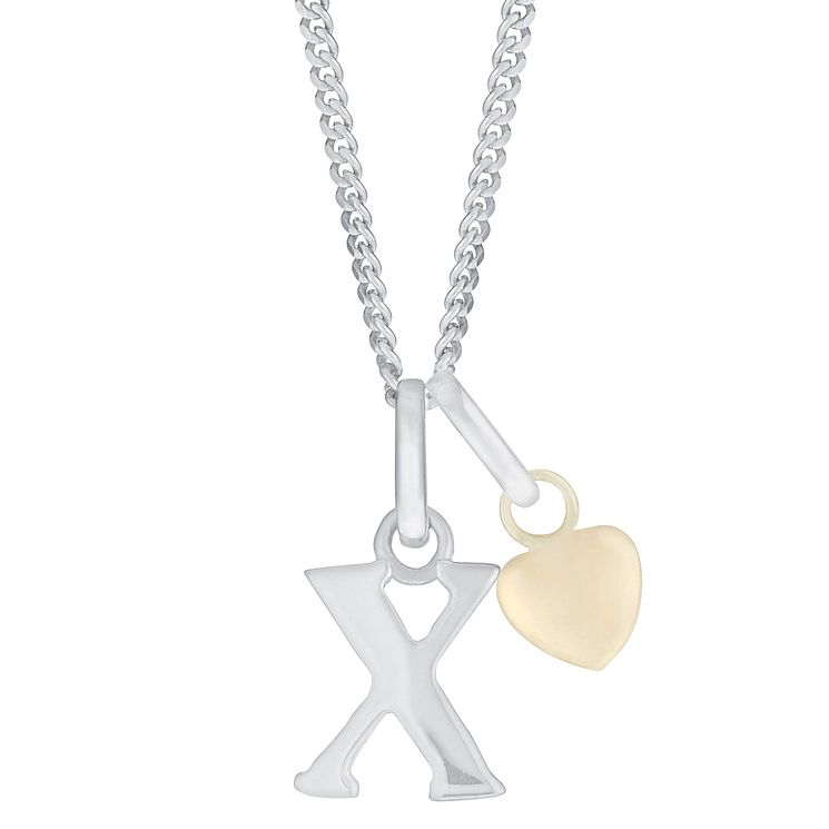 Silver & 9ct Yellow Gold Children's X Initial Pendant - Product number 3055043