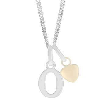 Silver & 9ct Yellow Gold Children's O Initial Pendant - Product number 3055302