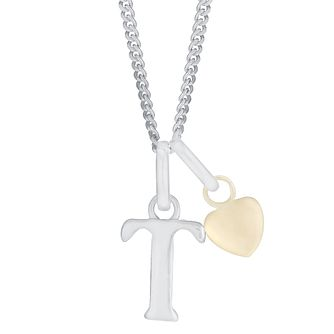 Silver & 9ct Yellow Gold Children's T Initial Pendant - Product number 3055345