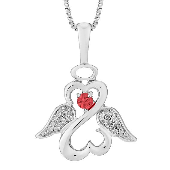 Open Hearts Angels By Jane Seymour Diamond & Garnet Pendant - Product number 3055353