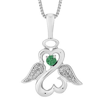 Open Hearts Angels By Jane Seymour Diamond & Emerald Pendant - Product number 3055418
