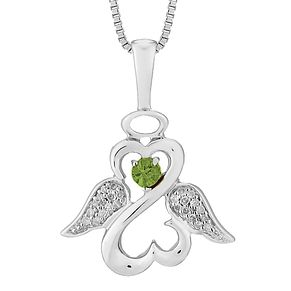 Open Hearts Angels By Jane Seymour Diamond & Peridot Pendant - Product number 3055426