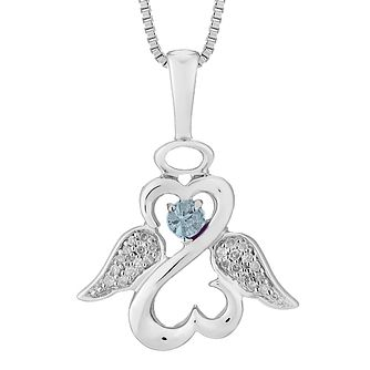 Open Hearts Angels Jane Seymour Diamond Blue Topaz Pendant - Product number 3055612