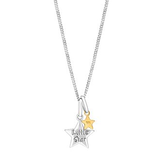 "Children's 14"" Silver & 9ct Yellow Gold Little Star Pendant - Product number 3055736"