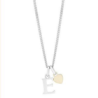 Silver & 9ct Yellow Gold Children's E Initial Pendant - Product number 3055779