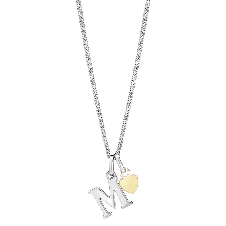 Silver & 9ct Yellow Gold Children's M Initial Pendant - Product number 3055795