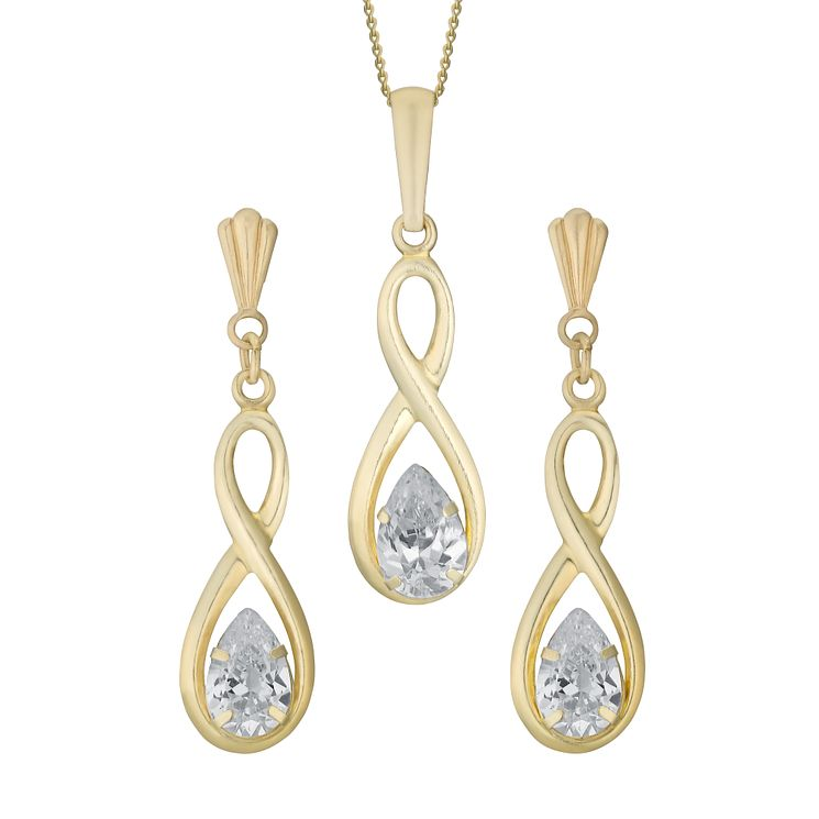 9ct Yellow Gold & Cubic Zirconia Earrings & Pendant Set - Product number 3055817