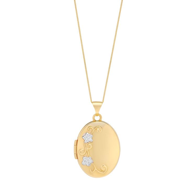 Silver & 9ct Yellow Gold Oval Diamond Set Locket - Product number 3057771
