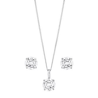 9ct White Gold & Cubic Zirconia Earring & Pendant Set - Product number 3057836