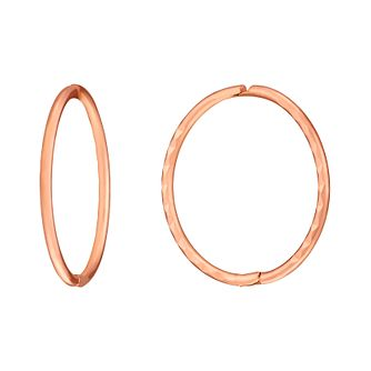 9ct Rose Gold Diamond Cut Sleeper Hoop Earrings - Product number 3058395