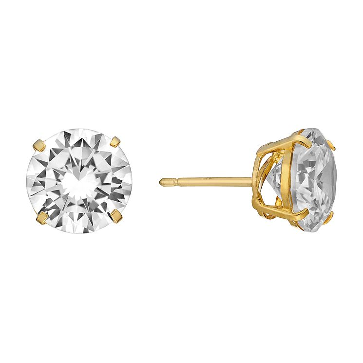 9ct Yellow Gold 9mm Round Cubic Zirconia Stud Earrings - Product number 3058654