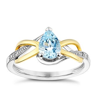 9ct Gold & Blue Topaz Diamond Set Ring - Product number 3059049