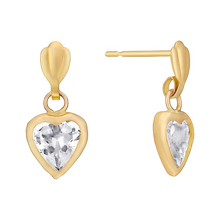 9ct Yellow Gold & Cubic Zirconia Heart Drop Earrings - Product number 3059545